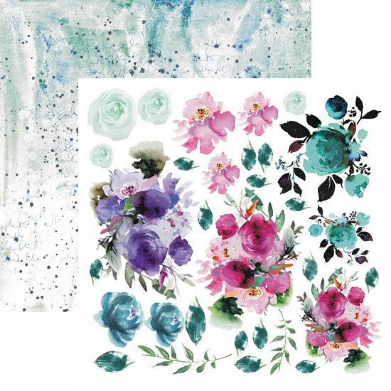 Scrappapier 13@rts - Aqua Flora by Aida Domisiewicz - Colors of Summer