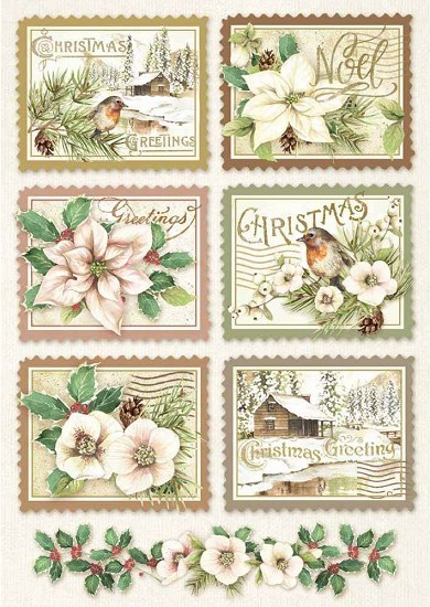 Stamperia - Rice Paper A4 - Winter Botanic Stamps