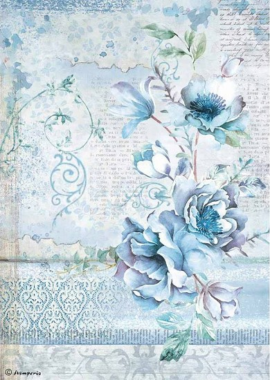 Stamperia - Rice Paper A4 - Blue Land Flower