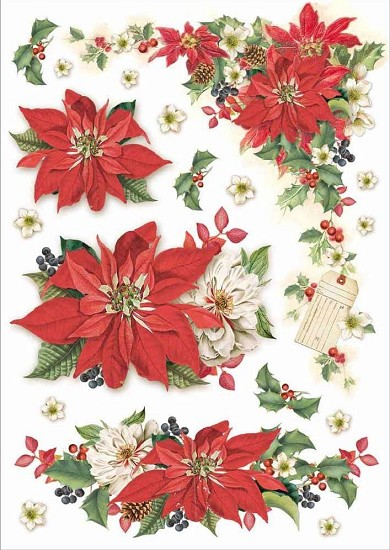 Stamperia - Rice Paper A4 - Christmas Poinsettia