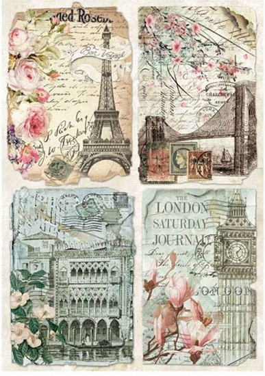 Stamperia - Rice Paper A4 - Vintage Postcards
