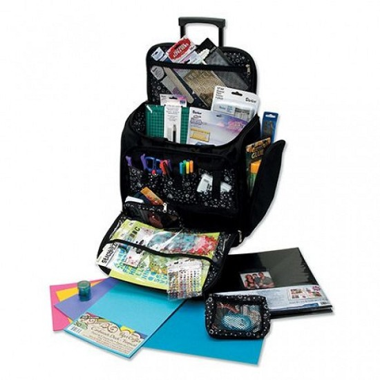 Rolling Craft Tote - Black with pockets - 43x43x24cm
