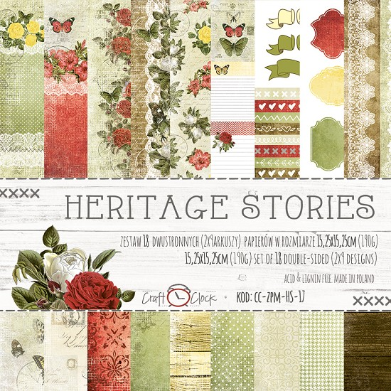 Craft-O-Clock - Paper Collection Set 15,2 x 15,2 cm - Heritage Stories