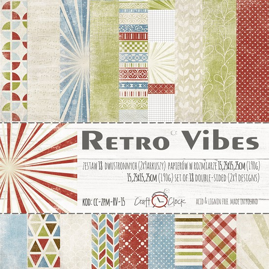 Craft-O-Clock - Paper Collection Set 15,2 x 15,2 cm - Retro Vibes