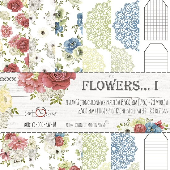 Craft-O-Clock - Paper Collection Set 15,2 x 30,5 - Flowers