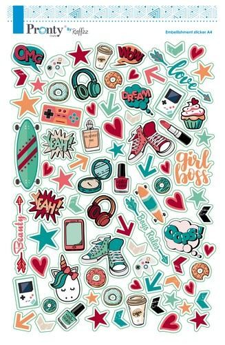 Pronty Crafts by Raffzz - Pretty & Cool - Embellishment Stickers A4