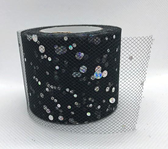 Tule - 5cm breed - Zwart met glitters