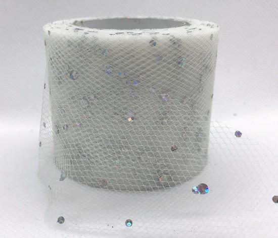 Tule - 5cm breed - Wit met glitters