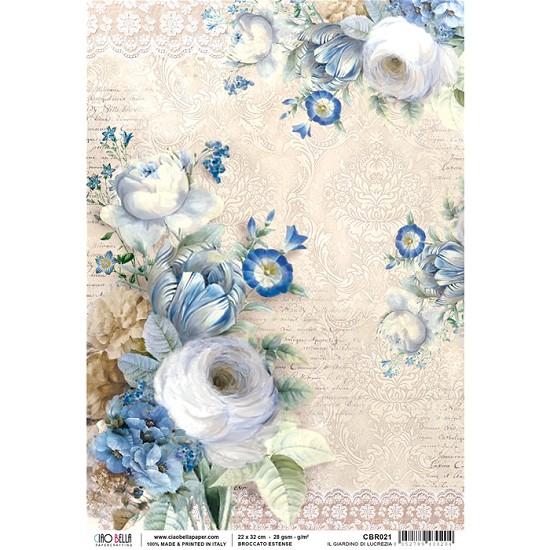 Ciao Bella - Rice Paper A4 - Broccato Estense - Il giardino di Lucrezia