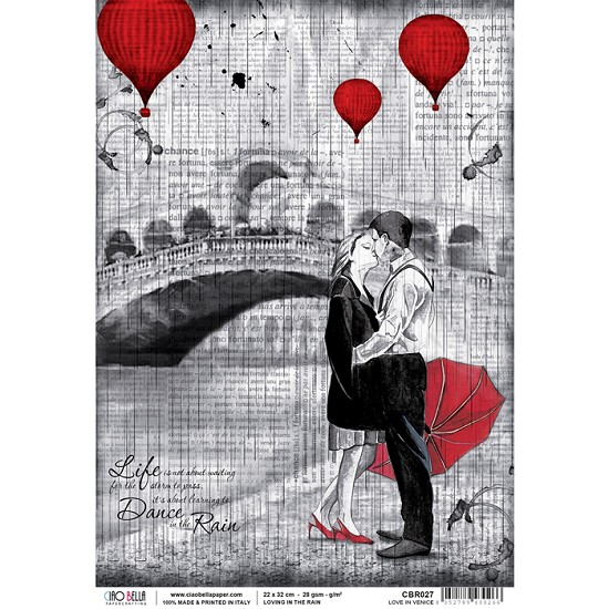 Ciao Bella - Rice Paper A4 - Loving in the Rain - Love in Venice
