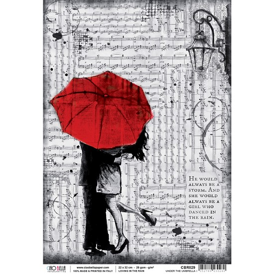 Ciao Bella - Rice Paper A4 - Loving in the Rain - Under the Umbrella