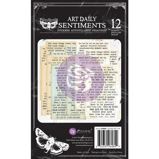 "Finnabair - Art Daily - Sticker Pad 4.5""X7.5"" - Sentiments"