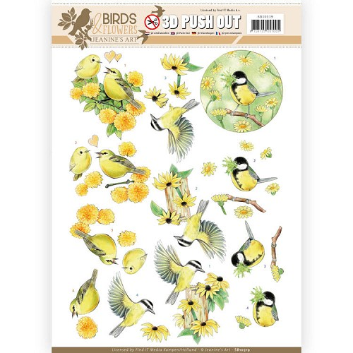 3D Pushout - Jeanine`s Art - Birds and Flowers - Yellow birds