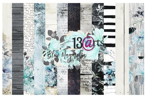 13@rts - Paper Collection Set - Blue Magnolia by Aida Domisiewicz