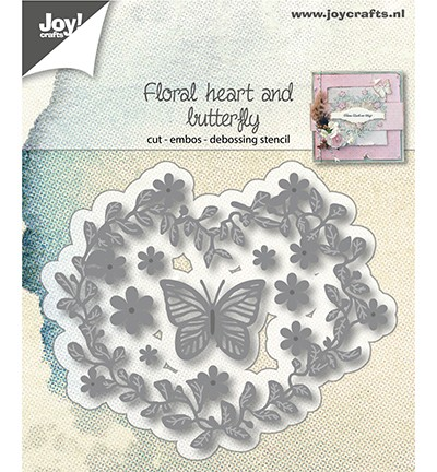 Joy Crafts - Snij-embos-debosstencil - Floral heart and butterfly