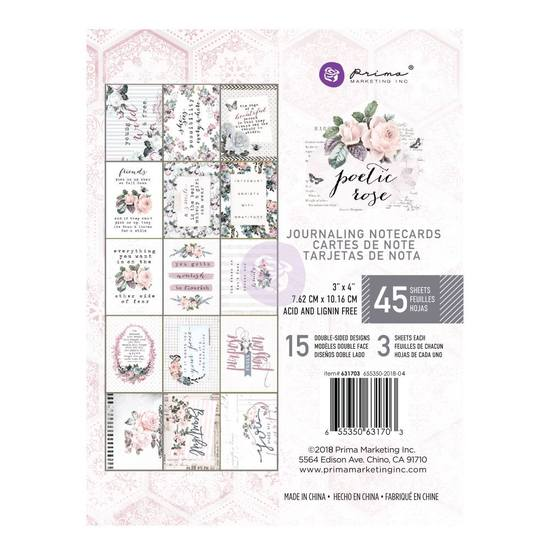 "Prima Marketing - Poetic Rose - Journaling Cards 3"" x 4"" (45 stuks)"