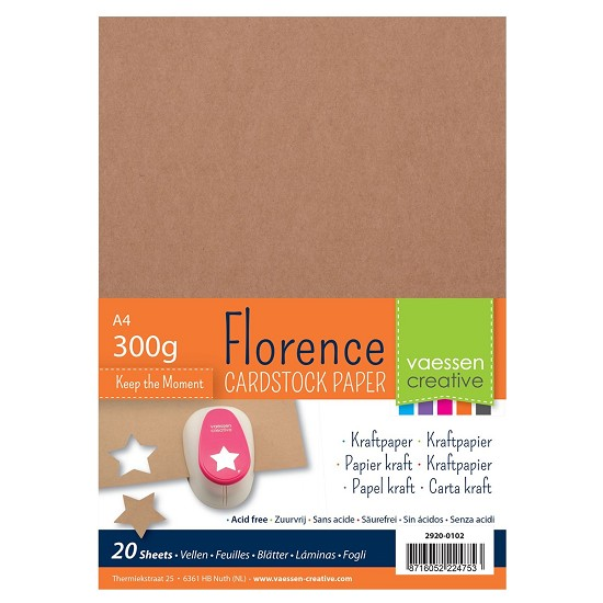 Florence - Kraft papier 300grams - A4 - 20 vel