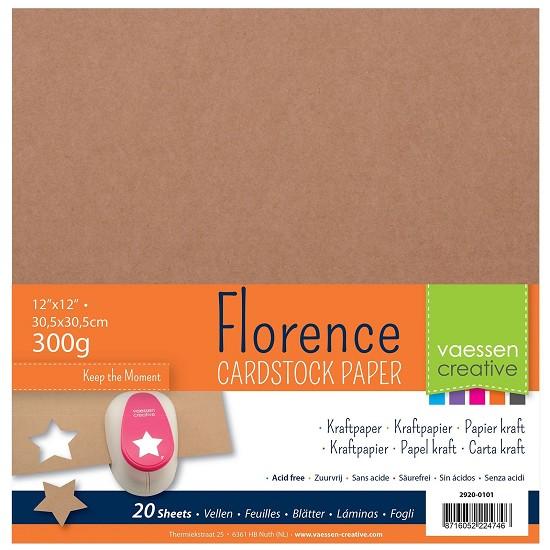 Florence - Kraft papier 300grams - 30,5 x 30,5 - 20 vel