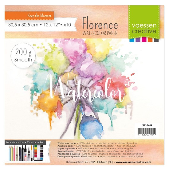 Florence - Aquarelpapier Smooth 200g - 30,5x30,5cm - (x10)