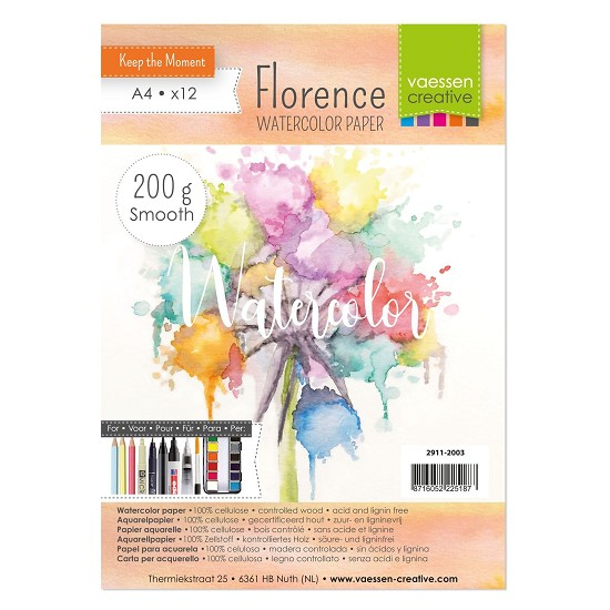 Florence - Aquarelpapier Smooth 200g - A4 - (x12)