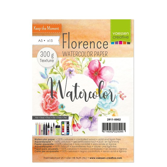 Florence - Aquarelpapier Texture 300g - A5 - (x15)
