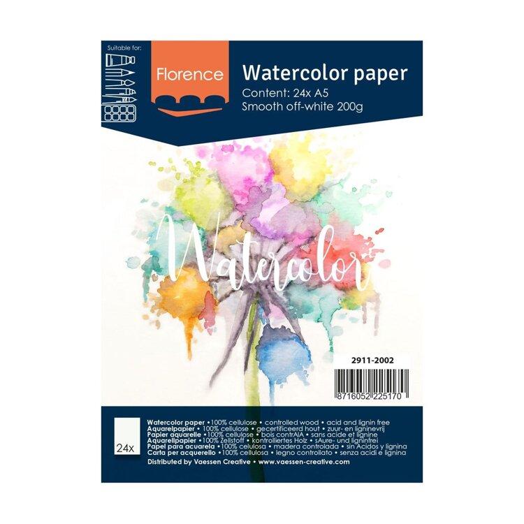 Florence - Aquarelpapier Smooth 200g - A5 - (x24)