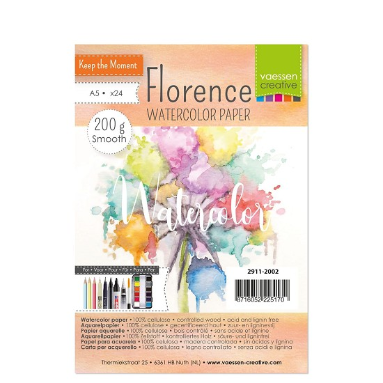 Florence - Aquarelpapier Smooth 200g - A5 - (x24)