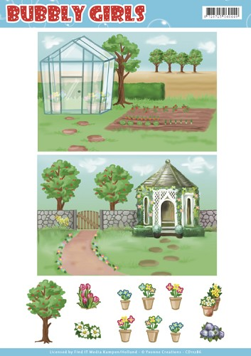 Background Sheets - Yvonne Creations - Bubbly Girls - Gardening