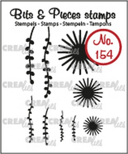 Crealies - Clearstamp - Bits & Pieces - 9x Mini Bloemen 20 +Blad 9