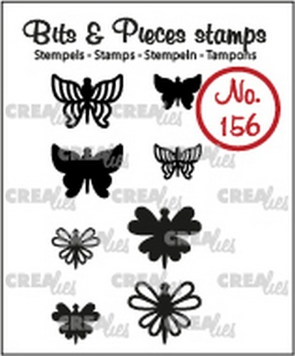 Crealies - Clearstamp - Bits & Pieces - 8x Mini Vlinders 7 + 8