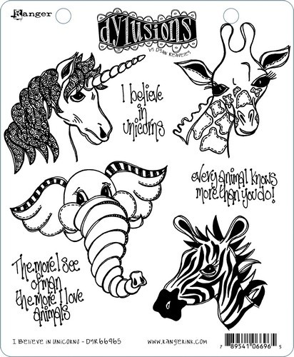Ranger - Dylusions - Cling Stamp - Set I Believe in Unicorns