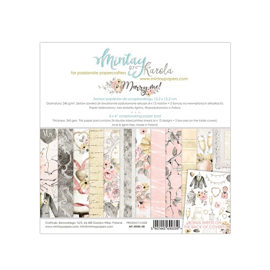 Paperpad Mintay - Marry Me 15,2 x 15,2 cm - MT-MRM-08