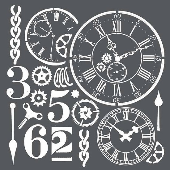 Stamperia - Thick Stencil - Watches & Numbers