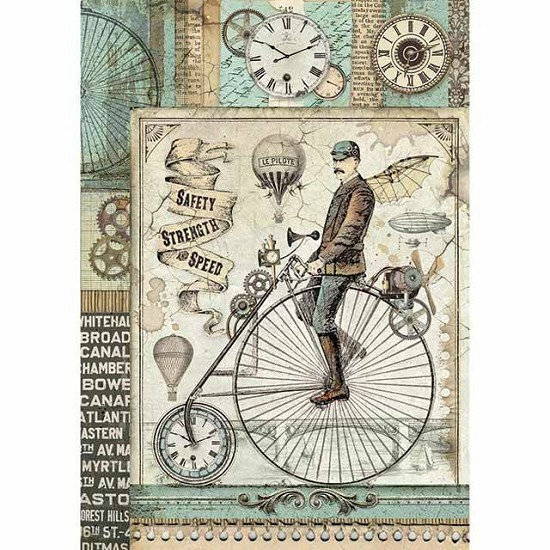 Stamperia - Rice Paper A4 - Voyages Fantastiques Retro Bicycle