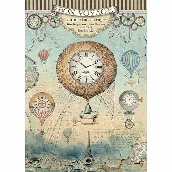 Stamperia - Rice Paper A4 - Voyages Fantastiques Balloon
