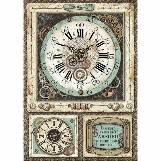 Stamperia - Rice Paper A4 - Voyages Fantastiques Clock Gears