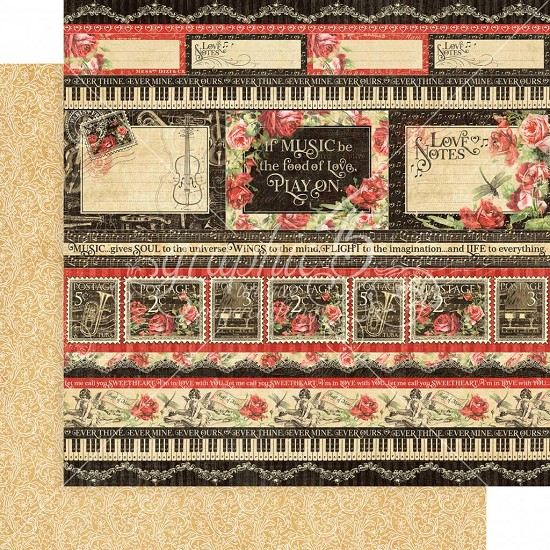 Scrappapier Graphic 45 - Love Notes - Poetic Postage