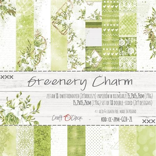 Craft-O-Clock - Paper Collection Set 15,2 x 15,2 cm - Greenery Charm (with gold/glitter)