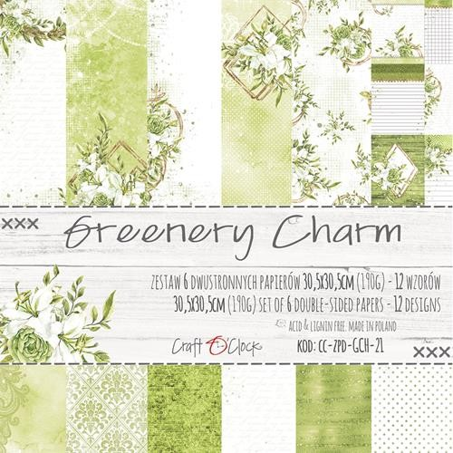Craft-O-Clock - Paper Collection Set 30,5 x 30,5 cm - Greenery Charm (goud/glitter)
