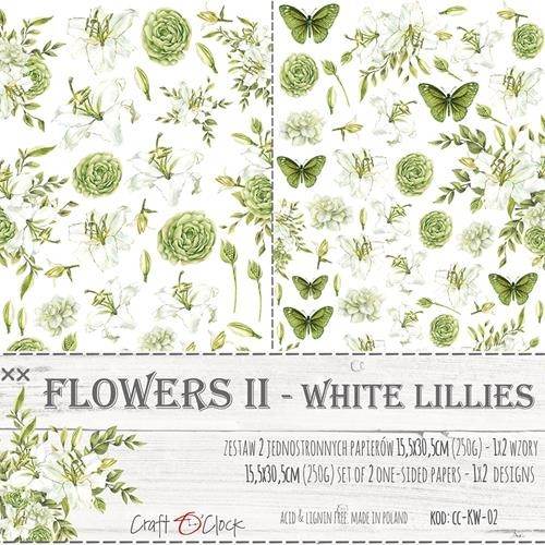 Craft-O-Clock - Paper Collection Set - Cutting Sheets White Lillies