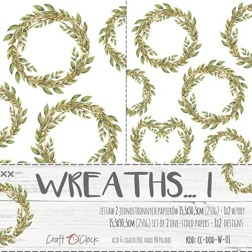 Craft-O-Clock - Paper Collection Set - Cutting Sheets Wreaths 1 (with Glitters)