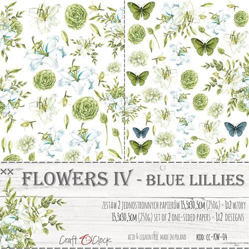 Craft-O-Clock - Paper Collection Set - Cutting Sheets Blue Lillies