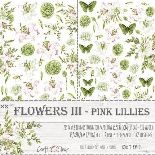 Craft-O-Clock - Paper Collection Set - Cutting Sheets Pink Lillies