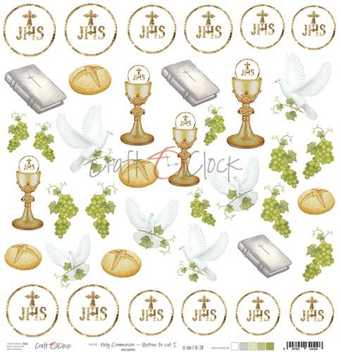 Craft-O-Clock - Scrappapier 30,5 x 30,5 cm - Cutting Sheets Holy Communion (with glitter)