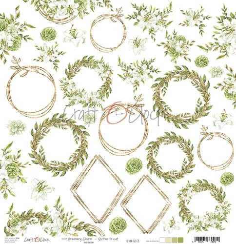 Craft-O-Clock - Scrappapier 30,5 x 30,5 cm - Cutting Sheets Greenery Charm (with glitter)