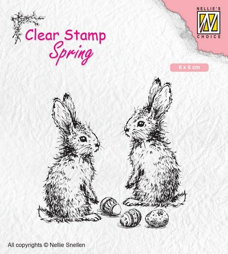 Nellies Choice - Clearstempel - lente, twee hazen