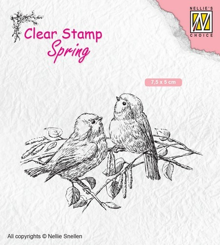 Nellies Choice - Clearstempel - lente; twee vogels