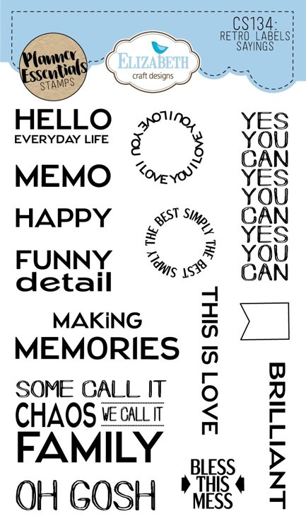 Elizabeth Craft Designs - Clearstamps Retro Labels Sayings