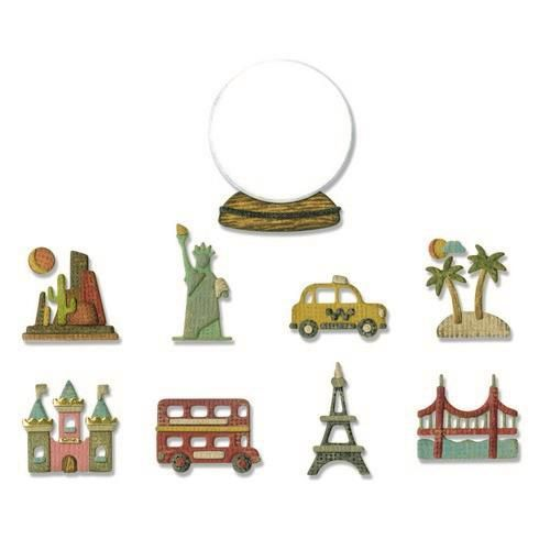 Stansmal Sizzix - Thinlits Die Set - 10PK Tiny Travel Globe
