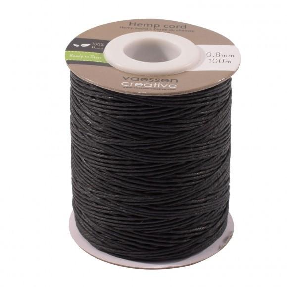Hemp cord  - 0,8mm x 100m - Black